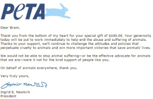 peta donation 100